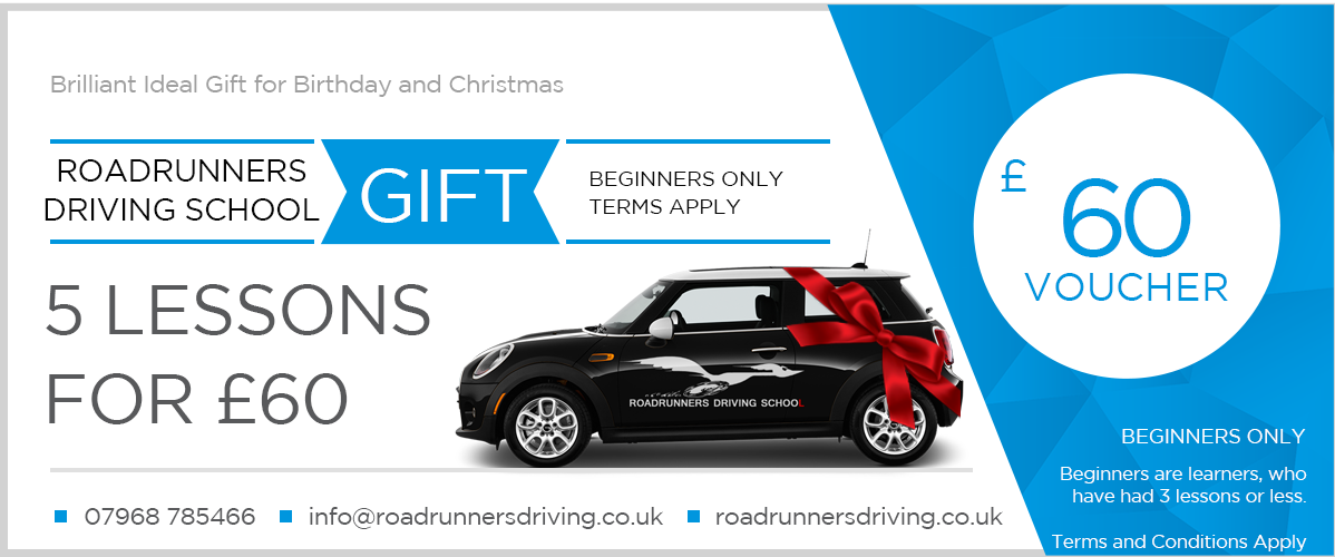 Driving Lessons Gift Voucher for 5 Lessons Value £60