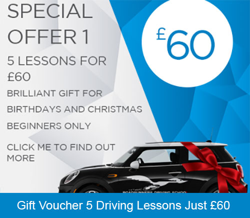Special Offer gift voucher 5 Driving Lessons Beginners only with Roadrunners Driving School