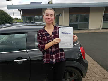Roadrunners Driving School Kidderminster 1st time pass student Helen P with her pass driving certificate