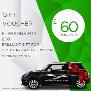 Gift Voucher 5 Driving Lessons beginner only £60 With Roadrunners Driving School Kidderminster