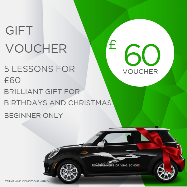 Gift Voucher 5 Driving Lessons beginner only £60 With Roadrunners Driving School Kidderminster