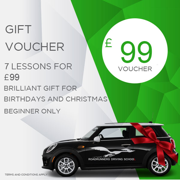 Gift Voucher 7 Driving Lessons beginner only £99 With Roadrunners Driving School Kidderminster