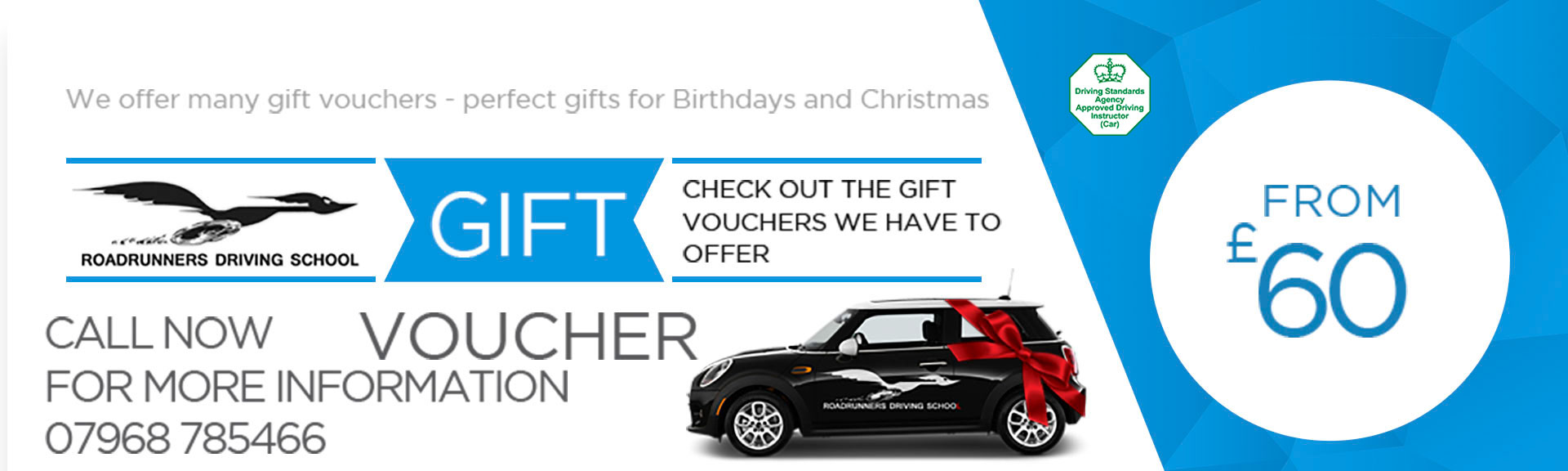 £60 Driving Lessons Gift vouchers For Roadrunners Driving School Kidderminster